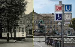 Per Mausbewegung von einst zum jetzt: Slider-Foto vom Fürther Hauptbahnhof (Bearbeitung: Robert Söllner)