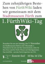 Flyer zum 1. FürthWiki-Tag (Gestaltung: Frank Drechsler)